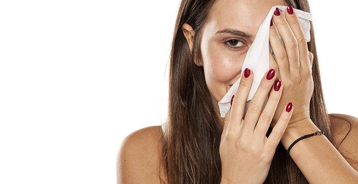 woman makeup wipes, cleansing skin